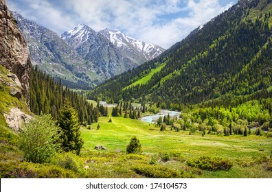 Mountain valley with green trees and river in Dzungarian Alatau, Kazakhstan, Central Asia
