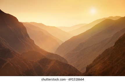 Mountain valley in the Himalayas at sunset,Nepal