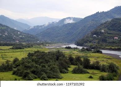 Mountain valley landscape in Georgia
