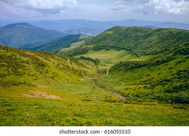 Mountain valley landscape. Summer time.