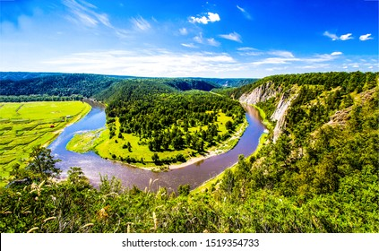 Mountain valley river panorama. Summer mountain river valley panoramic landscape. River valley in mountains panorama. Mountain valley river top view panoramic landscape