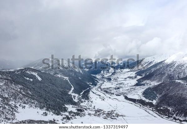 Mountain Valley Svaneti Georgia Winter Svaneti Stock Photo
