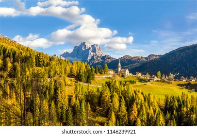 Mountain valley town landscape. Autumn mountain valley town panorama. Valley town in autumn mountains
