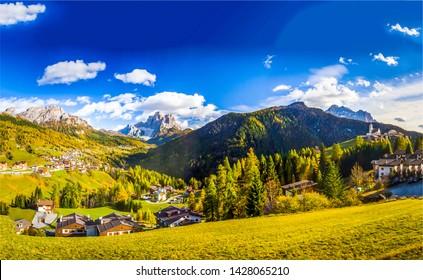 Mountain valley village landscape summer. Mountain village view. Village in mountains. Mountain valley village landscape