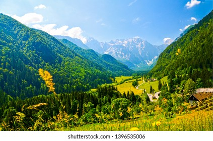 Mountain valley village summer landscape. Summer mountain valley village view. Village in mountain valley. Mountain village valley