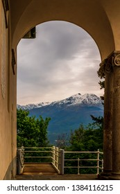 Mountain view from a arch at Sacro Monte di Belmonte