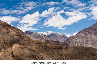 Mountain view with blue sky in Leh Ladakh, India