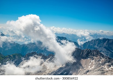 The mountain view with blue sky at Top of Germany, Zugspitze in Germany