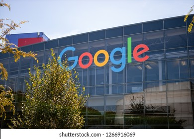 "Mountain View, CA - August 14, 2017: Google logo on a building in Google Headquarter ""Googleplex"""