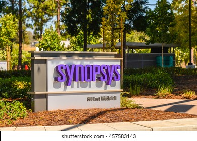 Mountain View, CA - Jul. 24, 2016: Entrance to Synopsys Corp. campus. Headquartered in Mountain View, CA, Synopsys provides tools and services for digital system-on-chip design.