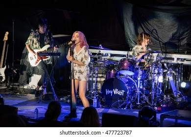 MOUNTAIN VIEW, CA - SEPTEMBER 2, 2016: Hey Violet in concert at the Shoreline Amphitheater in Mountain View, CA