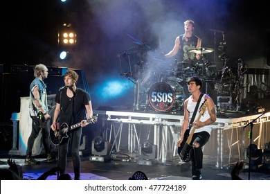 MOUNTAIN VIEW, CA - SEPTEMBER 2, 2016: 5 Seconds of Summer in concert at the Shoreline Amphitheater in Mountain View, CA