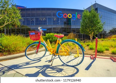 Mountain View, CA, United States - August 13, 2018: colorful bike for Google employees to move in Googleplex Headquarters. Google is a American technology company that specializes in Internet services