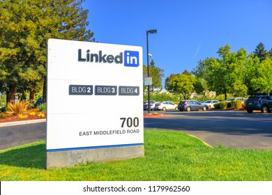 Mountain View, CA, United States - August 13, 2018: Linkedin Corp Sign at 700 East Middlefield Road, new Linkedin company campus HQ in Silicon Valley. Linkedin connects the world's professionals