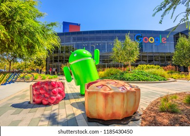 Mountain View, CA, USA - August 13, 2018: Android Nougat at Googleplex in Google headquarters a technology company leader in internet services, advertising, search engine, hardware and software.