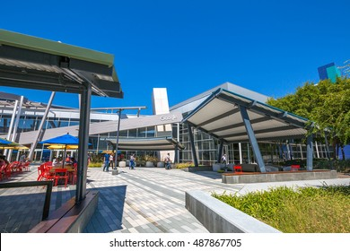 Mountain View, CA, USA - August 15, 2016: dining area for Google employees at Google's headquarters or Googleplex. Google is an multinational corporation specializing in Internet-related services.