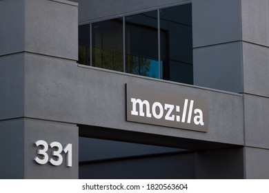 Mountain View, CA, USA - Feb 25, 2020: The company sign is seen at the entrance to the Mozilla office in Mountain View, California. Mozilla (stylized as moz://a) is a free software community.