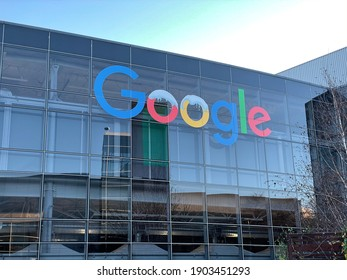 Mountain View, CA (USA) - January 17, 2021. Google's Headquarter in Silicon Valley sits empty during the Coronavirus pandemic.
