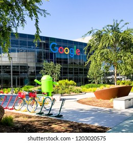 Mountain View, Ca USA May 7, 2017: Googleplex - Google Headquarters with bikes on foreground