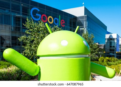 Mountain View, Ca USA May 7, 2017: Googleplex - Google Headquarters office buildings with sculpture of Android on the foreground