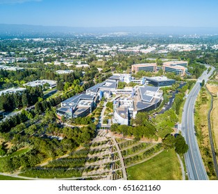Mountain View, Ca USA May 7, 2017: Googleplex - Google Headquarters office buildings seen from the above