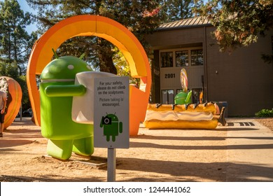 MOUNTAIN VIEW, CA / USA - OCTOBER 19, 2018: Mascot of the google Android operating system on its campus, googleplex, in Mountain View.