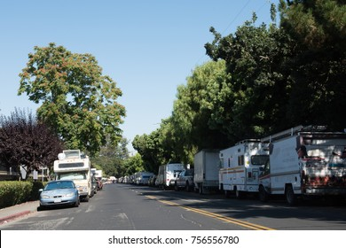 Mountain View, CA/ USA-July 22, 2017: RVs line a street in Mountain View due to housing shortage of affordable homes in the Bay Area.