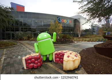 Mountain View, California - Nov 29, 2018: Android Nougat at Googleplex, the corporate headquarters complex of Google and its parent company Alphabet Inc..