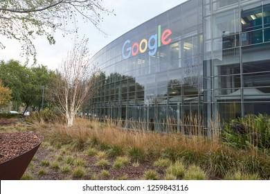 Mountain View, California - Nov 29, 2018: Googleplex, the corporate headquarters complex of Google and its parent company Alphabet Inc..