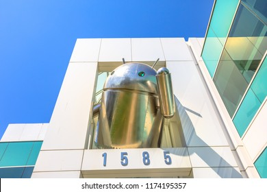 Mountain View, California, United States - August 13, 2018: closeup of Android Statue icon at the top of a Google's Corporate headquarters on Charleston Campus, Silicon Valley near Googleplex.