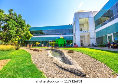 Mountain View, California, United States - August 13, 2018: Android Nougat on Charleston Campus of Google HQ in Silicon Valley near Googleplex. Building 46.