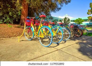Mountain View, California, United States - August 13, 2018: colorful Google bikes lined up at Charleston Campus of Google HQ in Silicon Valley near Googleplex.