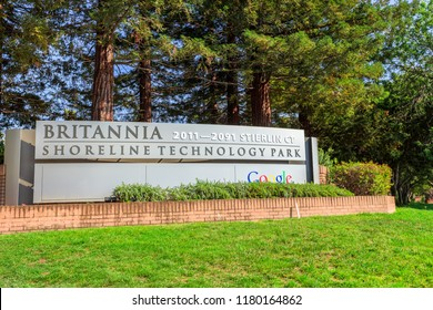 Mountain View, California, United States - August 13, 2018: Britannia Shoreline Technology Park sign extended between 2011-2091 Stierlin Court in Silicon Valley where Google HQ has numerous offices.
