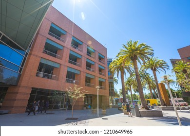 Mountain View, California, United States - August 15, 2016: Google Building 1950 near the main Googleplex, with palms and courtyard. Google is a multinational corporation.