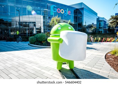 Mountain View, California United States November 13, 2015: Googleplex - Google Headquarters with Android figure at front