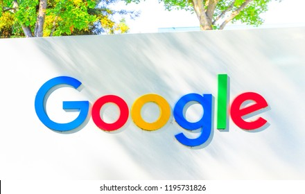 Mountain View, California, USA - August 13, 2018: Google logo isolated from a Google headquarters sign. Google technology leader in internet services, online advertising, search engine, cloud storage.