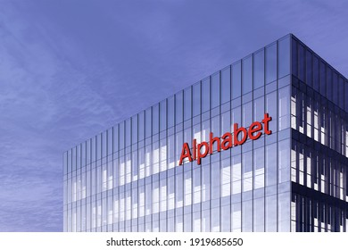 Mountain View, California, USA. February 17, 2021, Editorial Use Only, 3D CGI. Alphabet Inc. Signage Logo on Top of Glass Building. Workplace Company Office Headquarter.