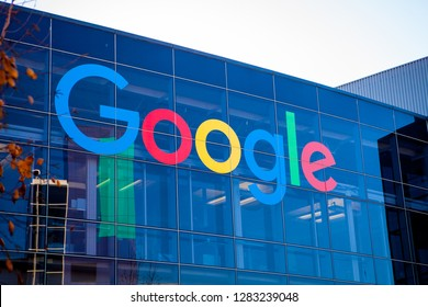 MOUNTAIN VIEW, CALIFORNIA, USA - JANUARY 11, 2019: Google logo in Googleplex, main campus in Silicon Valley. Google is an American corporation specializing in Internet-related services and products.
