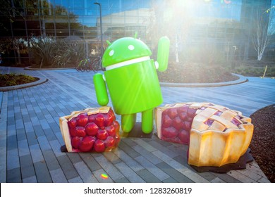 MOUNTAIN VIEW, CALIFORNIA, USA - JANUARY 11, 2019: Google Headquarters with Android Pie figure at the front. Exterior view of Googleplex