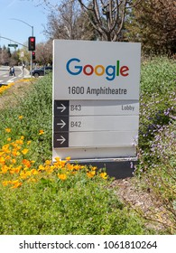 Mountain View, California, USA - March 29, 2018: Google sign at Google's headquarters in Googleplex. Google is an American technology company that specializes in Internet-related services and products