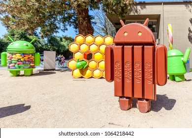 Mountain View, California, USA - March 28, 2018: Android KitKat statue at Google Visitor Center Beta. Android is a mobile operating system developed by Google.