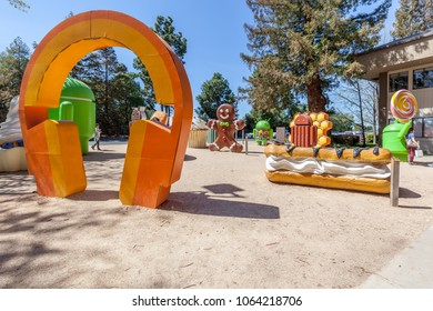 Mountain View, California, USA - March 28, 2018: Android lawn statues at Google Visitor Center Beta. The Android lawn statues are a series of large foam statues near the Googleplex in Mountain View.
