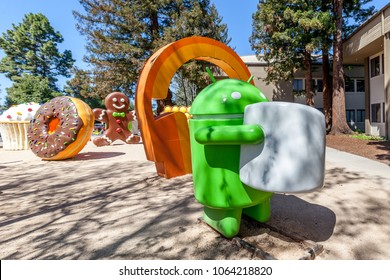 Mountain View, California, USA - March 28, 2018: Android Marshmallow statue at Google Visitor Center Beta. Android is a mobile operating system developed by Google.