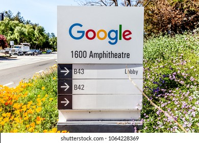 Mountain View, California, USA - March 29, 2018: Google sign at Google's headquarters in Silicon Valley. Google is an American technology company that specializes in Internet-related services and prod