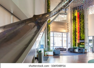 Mountain View, California, USA - March 29, 2018: Slide in Google Building 1900 Lobby in Googleplex at Mountain View, California, USA