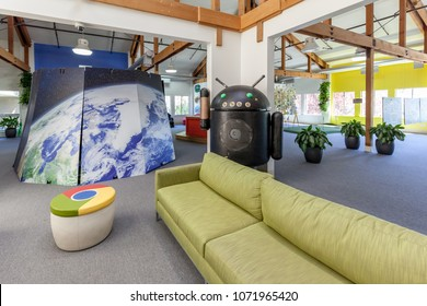 Mountain View, California, USA - March 29, 2018: Interior view of Google Visitor Center Beta, the area is open to Google employees and their guests.