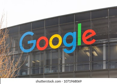 Mountain View, California, USA - March 29, 2018: Google sign on the building at Google's headquarters in Silicon Valley . Google is an American technology company in Internet-related services and prod
