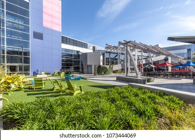 Mountain View, California, USA - March 29, 2018: Exterior view of the cafeteria in the campus at Google's headquarters in Silicon Valley.