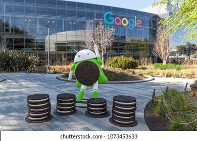 Mountain View, California, USA - March 29, 2018: Android 8.0 Oreo statue in front of the building in Google headquarters campus. Android is a mobile operating system developed by Google.