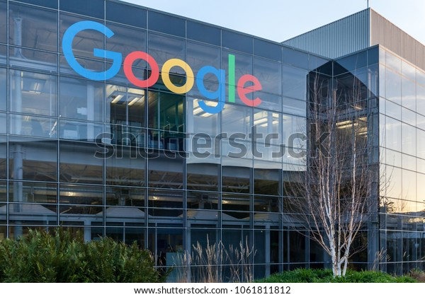 Mountain View, California, USA - March 29, 2018: Google sign on the building at Google's headquarters in Googleplex. Google is an American technology company in Internet-related services and products.